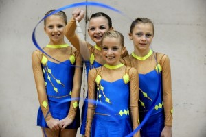 Rhythmic Gymnastics competition at Richard Dunn Sports Centre, Bradford. Otley Rhythmic Gymnastics club at the event.Amelia Tempest, 11, Jessica Carroll, 12, Caitlin Thomas, 10,Maia Parkin, 12. Photo: Lucy Ray